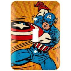 Captain America Tin Switch Plate⎜Open Road Brands