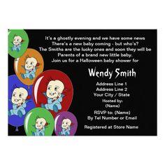 Little Boy Vampire Balloons baby shower invitation cards. Adorable.