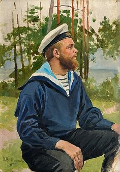 Hugo Backmansson (Finnish, Sailor, Oil on canvas laid on board, 37 x cm. Guy Drawing, Painting & Drawing, Oil Portrait, Scandinavian Art, Portraits, Oil On Canvas, Illustration Art, Illustrations, Art Photography