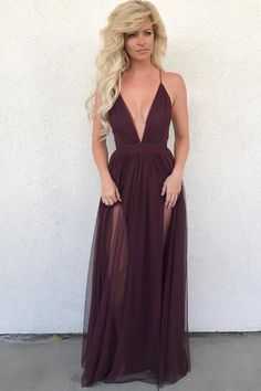 Simply Sexy Deep V Neck Burgundy Long Party Dress