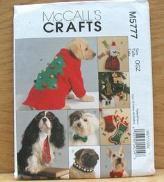 eBlueJay: Mccalls Sewing Pattern M5777 Dog Christmas Collars Coat Toys Ornaments Uncut