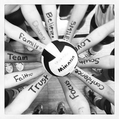 Love my volleyball team. Take a picture of the players hands with something that means the most to them and helped them get there with a volleyball in the middle. So cute! Have got to do this!
