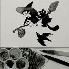 Inktober 27: Terrifiant. Des bonbons ou un sort. Joyeux Halloween! Je m'étais mis de côté le numéro 27 de Inktober en prévision de Halloween.  Inktober 27: Creepy. Trick or treat. Happy Halloween! I had put aside the No. 27 of Inktober in anticipation of Halloween.  #inktober #inktober2016 #drawingchallenge #inking #ink #illustration #artistsoninstagram #kidlitart #art #pentel #pentelbrushpen #halloween #cat #blackcat #chat #chatnoir #pumpkin #citrouille #corbeau #crow #witch
