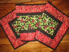Christmas Table Runner, Holly and Red Berries, Red Gold Swirl, Quilted Table Runner, Holiday Table Decor, Short Reversible Runner Quilted