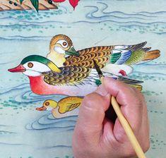 이문성 작가와 함께하는 궁중화조도 그리기 Ⅲ | 월간민화 Korean Painting, Chinese Painting, Chinese Art, Tibetan Art, Traditional Paintings, Fashion Art, Old Things, Miniatures, Butterfly