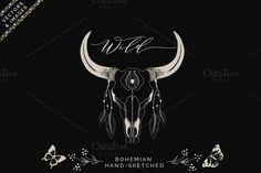 Business Illustration, Pencil Illustration, Graphic Illustration, Illustrations, Buffalo Art, Bohemian Theme, Deer Skulls, Hand Sketch, Illustration
