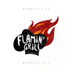 Flamin Grill Logo Food Truck Flame Cooking Chef Logo Photography Watermark Logos Pre-made Logos Design Handmade Small Business Logos
