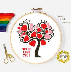 Valentines Day Modern Cross Stitch Pattern PDF, Tree of Hearts Counted Chart, Love Xstitch Design Embroidery Baby Kids Room Instant Download