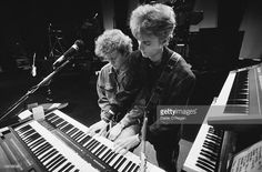 Keyboard player Magne Furuholmen (left) and guitarist Paul Waaktaar-Savoy rehearsing with Norwegian pop group a-ha, circa 1985.