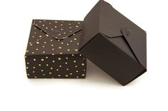 Set of 6  Black gold gift box  gold polka dots  by ChainOfJoy