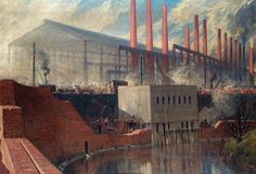 A Two-Year-Old Steel Works: Erected during the War for Messrs. Steel, Peech & Tozer, Ltd, Phoenix Works, Rotherham by Charles John Holmes Your Paintings, Landscape Paintings, Charles Demuth, Aberdeen Art Gallery, John Holmes, Industrial Paintings, Sources Of Iron, Walker Art, Urban Life