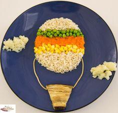 Ricey Hot Air Balloon with veggies like cauliflower clouds