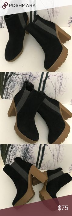 """💥Sale💥NWOT- Suede Platform Boots NWOT- Nine West Black Suede Boots Going to great heights. Our Idelle Chelsea platform booties feature side goring which makes it so easy to pull them on and take them off. It also provides a wonderfully snug fit.  Heel:4 1/2"""" heel Platform:1"""" platform provides the feeling of a 3 1/2"""" heel.  Padded insole for all-day comfort Suede upper Man-made lining and sole 5"""" shaft 4 1/2"""" heel Imported Style Code: NWIDELLE Color:Black Size:9 Nine West Shoes Platforms"""