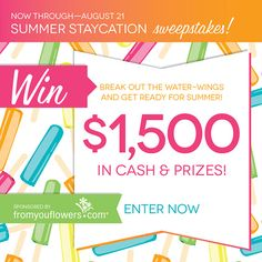 I just entered to win $1,500 in summer prizes, including a $1,000 VISA gift card! Via @From You Flowers. Join me! #fyfsweeps