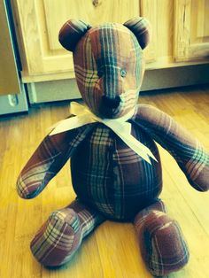 Made from a man's large flannel shirt!  Plain bears like this $40.00 plus shipping!