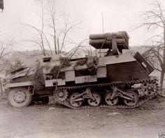 15 cm Panzerwerfer 42 auf Selbstfahrlafette Sd.Kfz. 4/1 (Maultier).  German half-track  armed with 15 cm rocket launchers.
