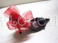 Sassy Red Organdy Bow Designer Shoe Clips Gifts Swarovski Rhinestones Bridal Shoe Accessories: http://www.artfire.com/ext/shop/product_view/floreti/1798533