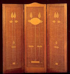 "Three panel folding screen with conventionalized rose design. 1902-16.   Flax and jute ""Craftsman canvas"" with linen applique and hand embroidery; each panel 66""x22"". From the book ""American Arts and Crafts Textiles"" by Diane Ayres (and Co.)"