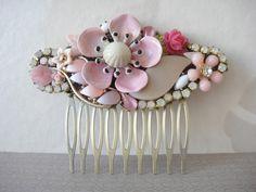 Pink bridal haircomb - shabby chic vintage flowers and rhinestones - bridesmaids gift. €85,00, via Etsy.