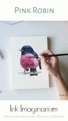 Watercolor Paintings For Beginners, Watercolor Art Lessons, Watercolor Bird, Acrilic Paintings, Pink Painting, Bird Drawings, Diy Canvas Art, Colorful Birds, Bird Art