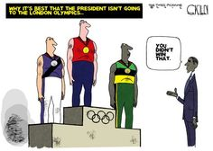 Why it's best that the President isn't going to the London olympics - you didn't win that. By Steve Kelley #GoComics #PoliticalCartooon #Election2012 #Olympics #Obama