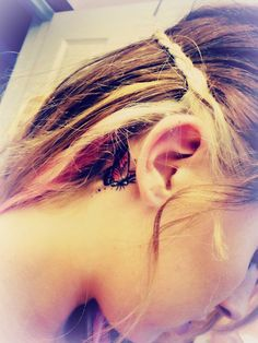34 Butterfly behind ear tattoo
