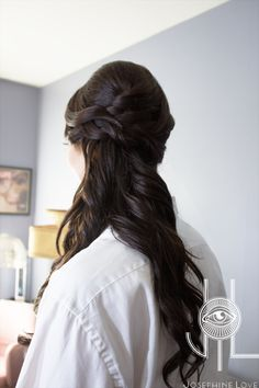 Lovely half up half down hair style at a bridal trial.  Her brunette hair really shines!