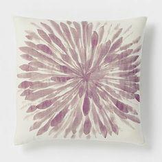 purple chrysanthemum pillow - would be pretty on a gray sofa.