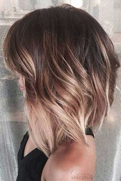 Medium Bob Haircut Here is a slightly angled long bob hairstyle with blonde highlights, this one is perfect for women with thick hair.