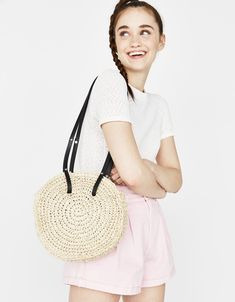 Round straw bag - Bershka #fashion #product #accesories #accesory #trend #trendy #cool #girl #outfit #inspiration #inspo #ideas #young