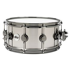 """Drum Workshop Collector's Series 14 x 5.5"""" """"Black-Ti"""" 1mm rolled titanium alloy shell Snare Drum with 45° bearing edges and black polished titanium finish.Features proprietary DW Black Nickel stealth lugs, True Hoops and MAG tap-style throw-off strainer."""