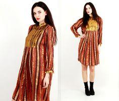 Vintage Dress / Indian Dress / Brown Glossy Dress/ Gold Dress / Cotton Dress Size M by Ramaci on Etsy