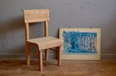 Chaise enfant vintage bois massif années 50 gascoin hitier minimaliste rustique kid mobilier chambre