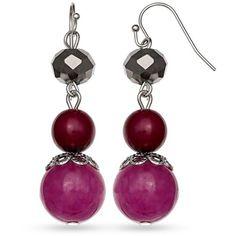 Jules B Purple Silver-Tone Bauble Bazaar Purple Triple Drop Earrings (555 RUB) ❤ liked on Polyvore featuring jewelry, earrings, purple, hematite earrings, beaded jewelry, hematite jewelry, purple jewelry and bead jewellery