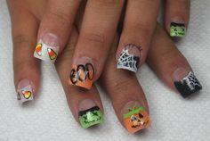 Glittery Halloween Nails!!   Candy Corn, pumpkins, frankensteins, and webs! http://www.fingerpaintedblog.com/2012/10/the-last-halloween-one_31.html