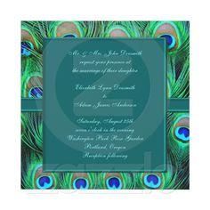Teal Peacock Wedding Custom Invites