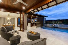 The Franklin Home - Browse Customisation Options Alfresco Designs, Franklin Homes, Outdoor Glider, Outdoor Living Rooms, Outdoor Kitchen Design, New Home Designs, Pool Houses, Exterior Design, Beautiful Homes