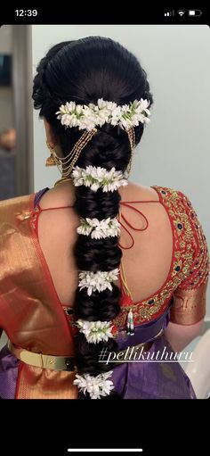 South Indian Wedding Hairstyles, Bridal Hairstyle Indian Wedding, Bridal Hair Buns, Bridal Braids, Bridal Hairdo, Hairdo Wedding, Braided Hairstyles For Wedding, Bridal Hair Flowers, Indian Hairstyles