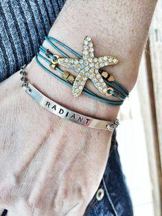 Rhinestone Starfish Wrap Bracelet by LoveDesignsBoutique on Etsy