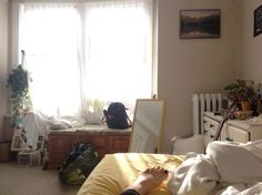 bedroom, plants, room, yellow, roominspiration, art hoe, yellow aesthetic, peach aesthetic