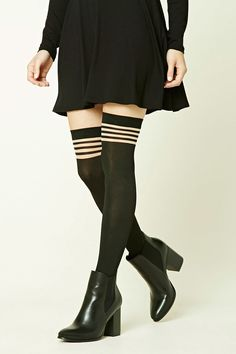 A pair of over-the-knee tights featuring sheer mesh stripes and elasticized cuffs.