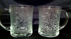 2 Frosted & Clear Glass Coffee Mugs w Rose Flower Embossed Coffee Cups Indonesia.