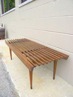Mid Century Modern Slat Bench Table Nelson Miller extendible style - Danish modern on Etsy, $499.99