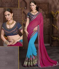Firozi & Pink Color Georgette Festival & Function Wear Sarees : Rohini Collection YF-37322