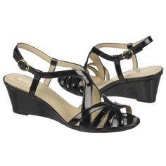 Women's Naturalizer Happening Wedge Sandal Black Patent Shoes.com