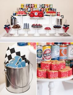Fantastic vintage car dessert table with similar colour scheme. Keep the base very white and highlight the colour scheme through the food