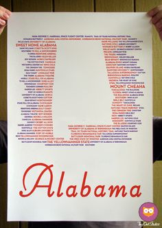Alabama State Typographical Poster.