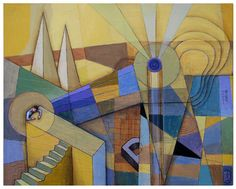 """Saatchi Online Artist Tomas Hache; Mixed Media, """"Lanscape with stairs"""" #art"""