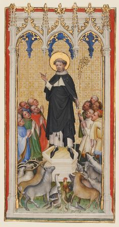 """""""Saint Anthony Abbot Blessing the Animals, the Poor, and the Sick,"""" about 1400 - 1410, Master of St. Veronica. Tempera colors, gold paint, and gold leaf on parchment"""