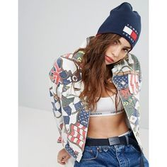 Tommy Jeans 90s Capsule Reversible Beanie (€58) ❤ liked on Polyvore featuring accessories, hats, red, logo hats, logo beanie hats, beanie caps, red knit hat and beanie cap hat